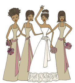 Bride with 3 Bridesmaids in champagne cards