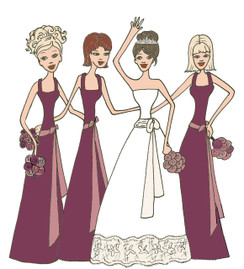 Bride with 3 Bridesmaids in raspberry cards