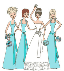 Bride with 3 Bridesmaids in tiffany blue cards