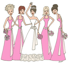 Bride with 4 Bridesmaids in bright pink cards