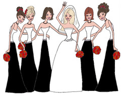Bride with 5 Bridesmaids in black/white cards