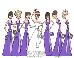 Bride with 6 Bridesmaids in purple cards