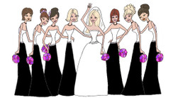 Bride with 7 Bridesmaids in black/white cards