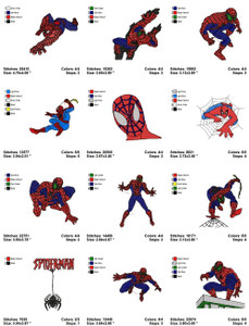 SPIDER MAN MACHINE EMBROIDERY DESIGNS Set of 17