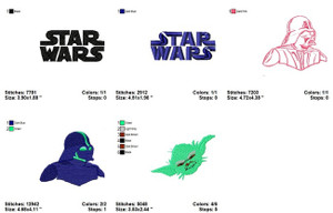 STAR WARS LOGO YODA MACHINE EMBROIDERY DESIGNS