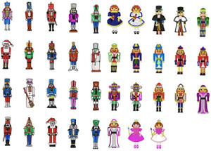 NUTCRACKER CHRISTMAS SOLDIERS NUT CRACKER MACHINE EMBROIDERY DESIGNS - SET OF 38