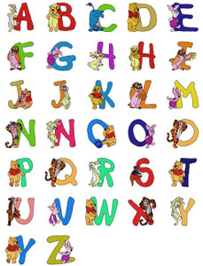 DISNEY WINNIE THE POOH Eeyore OWL RABBIT PIGLET TIGGER FONTS ALPHABETS  MACHINE EMBROIDERY DESIGNS