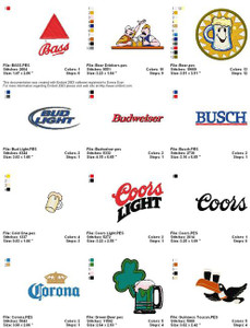BEER BAR LOGOS MACHINE EMBROIDERY DESIGNS