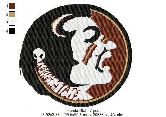 State 4x4 Florida State Seminoles Football Set Of 20 Embroidery