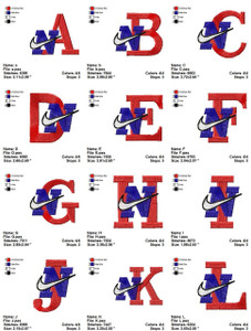 NIKE  ALPHABET  EMBROIDERY DESIGNS INSTANT DOWNLOAD BIG COLLECTION