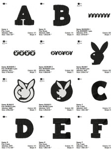 PLAYBOY FONT ALPHABET  EMBROIDERY DESIGNS INSTANT DOWNLOAD AMAZING COLLECTION