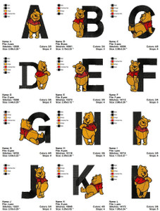 POOH ALPHABET  EMBROIDERY DESIGNS INSTANT DOWNLOAD VERY CUTE COLLECTION