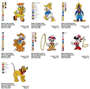 DISNEY MICKEY WESTERN EMBROIDERY DESIGNS INSTANT DOWNLOAD BIG COLLECTION