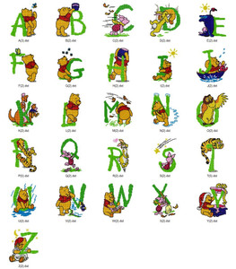 Pooh Cross Stitch Alphabets DISNEY HOLIDAY EMBROIDERY DESIGNS INSTANT DOWNLOAD BEST COLLECTION