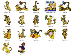 TIGER POOH  DISNEY HOLIDAY EMBROIDERY DESIGNS INSTANT DOWNLOAD BEST COLLECTION