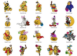 Margareth Winnie the Pooh Halloween  EMBROIDERY DESIGNS INSTANT DOWNLOAD BIG COLLECTION