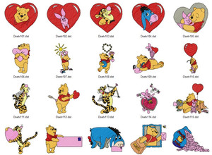 POOH VALENTINES EMBROIDERY DESIGNS INSTANT DOWNLOAD BIG COLLECTION