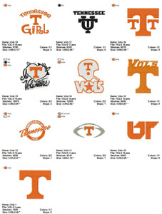 Tennessee Volunteers VOLS  EMBROIDERY DESIGNS INSTANT DOWNLOAD BEST COLLECTION