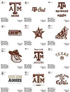Texas A&M University EMBROIDERY DESIGNS INSTANT DOWNLOAD BEST COLLECTION