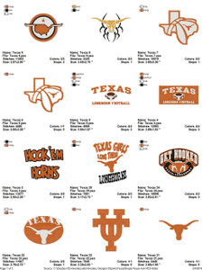 Texas Longhorns  EMBROIDERY DESIGNS INSTANT DOWNLOAD BEST COLLECTION