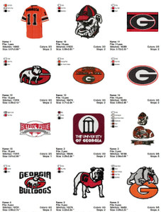 University of Georgia Embroidery Multi format EMBROIDERY DESIGNS INSTANT DOWNLOAD BEST COLLECTION