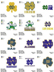 University of Notre Dame EMBROIDERY DESIGNS INSTANT DOWNLOAD BEST COLLECTION