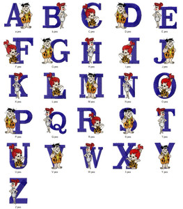 BEDROCK BUNCH CARTOON ALPHABETS FONT  EMBROIDERY DESIGNS INSTANT DOWNLOAD HUGE  COLLECTION