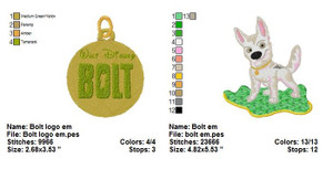 BOLT DISNEY EMBROIDERY DESIGNS INSTANT DIGITAL DOWNLOAD