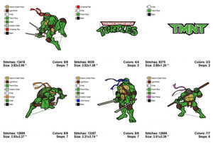 Mutant Ninja Turtles EMBROIDERY DESIGNS INSTANT DIGITAL DOWNLOAD SET OF 6