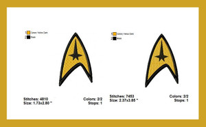 STAR TREK EMBROIDERY MACHINE DESIGNS DIGITAL DOWNLOAD 2 SIZES