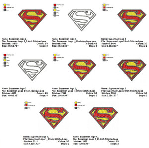 SUPERMAN LOGO FILL & APPLIQUE EMBROIDERY MACHINE DESIGNS DIGITAL DOWNLOAD SET OF 18