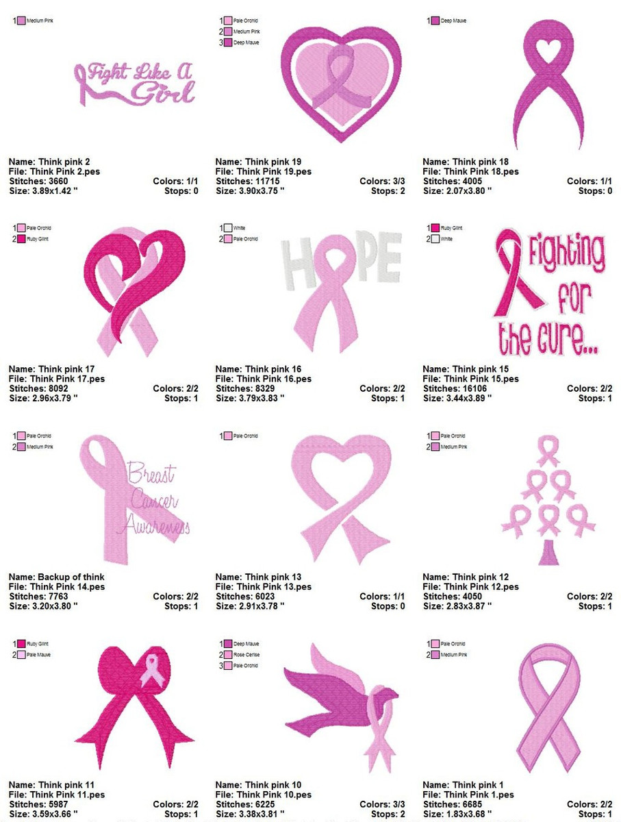 breast cancer machine embroidery designs