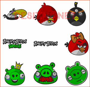 24 ANGRY BIRDS 4X4  Embroidery MACHINE Designs  Instant Download