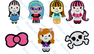MONSTER HIGH Set of 7 Embroidery Machine Patterns Designs Instant Download