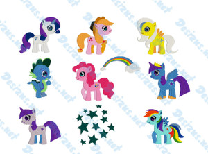 My Little Pony CHARACTER  SET Set of 9 Embroidery Machine Patterns Designs Instant Download