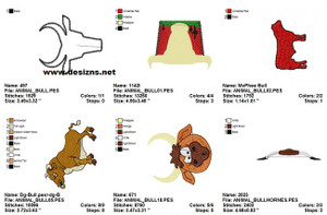 BULLS ANIMALS COLLECTION EMBROIDERY DESIGNS