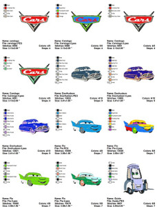 CARS PIXAR DISNEY EMBROIDERY MACHINE DESIGNS SET OF 47