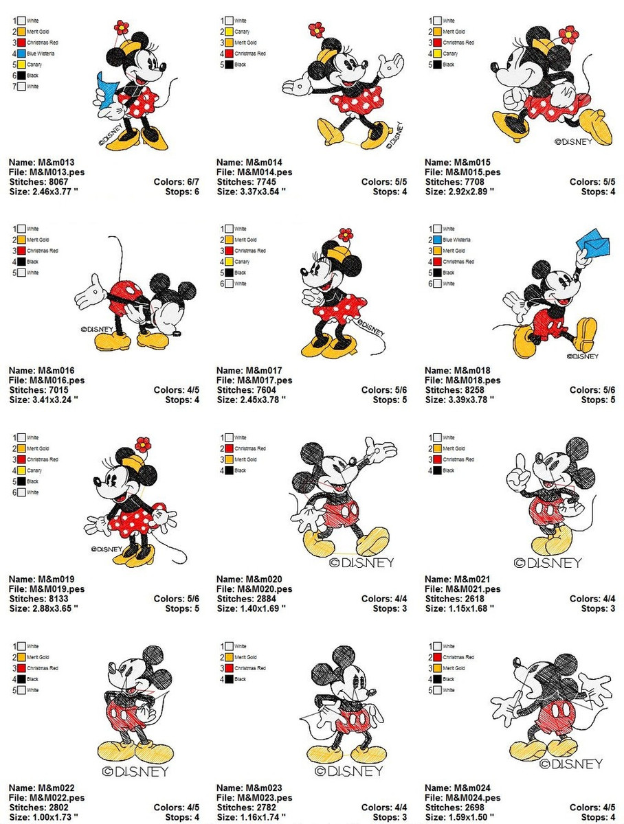 Classic Disney Mickey Minnie Mouse Cartoon Characters