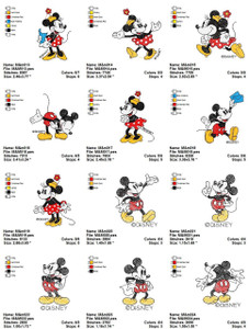 CLASSIC DISNEY MICKEY MINNIE MOUSE  CARTOON CHARACTERS EMBROIDERY DESIGNS