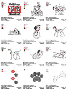 101 DALMATIONS DISNEY EMBROIDERY DESIGNS
