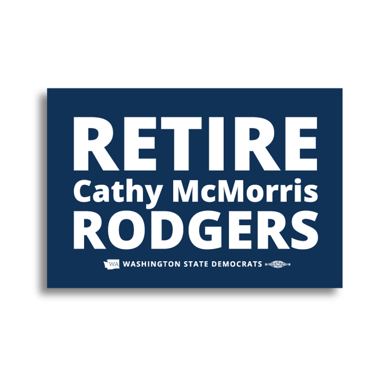 """""""Retire Cathy McMorris Rodgers"""" logo graphic (6"""" x 4"""" Vinyl Sticker -- Pack of Two!)"""