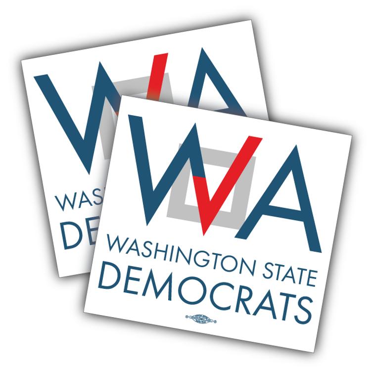 "Washington Democrats Official Logo  (5"" x 5"" Vinyl Sticker -- Pack of Two!)"