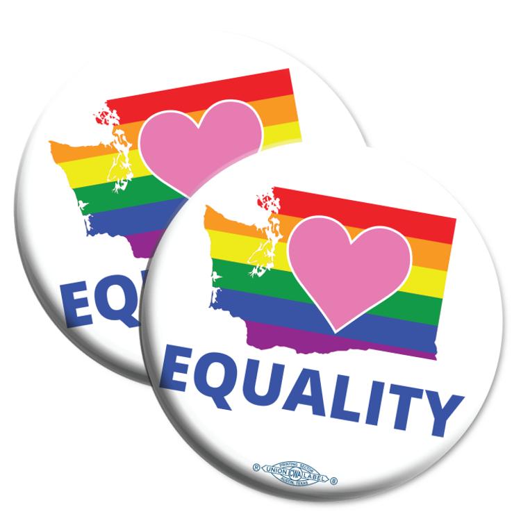 "Equality Washington Democrat  (2.25"" Mylar Button -- Pack Of Two!)"