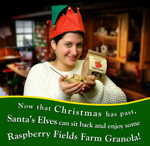 Raspberryfieldsfarm.com's holiday promotion—Santa's Evles enjoying Raspberry Fields Farm's artisan granola