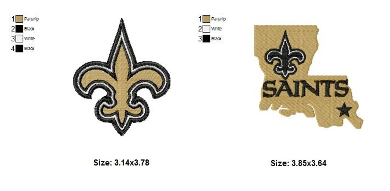 Set of 2 New Orleans Saints NFL Logo Embroidery Designs