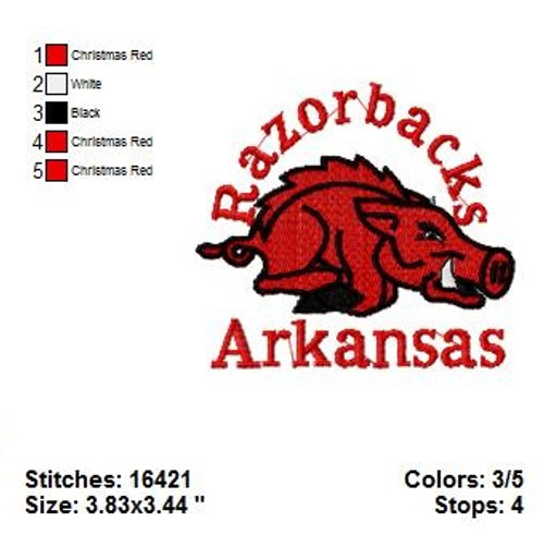 Arkansas Razorbacks College Sports Team Machine Embroidery Designs Instant Download