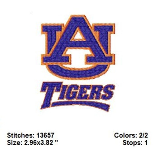 University Auburn Tigers football College Sports Team Filled Machine Embroidery Designs Instant Download
