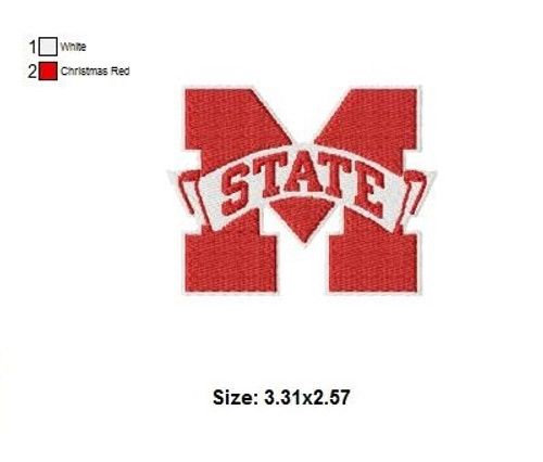 Mississippi State Bulldogs football Logo Embroidery Designs Instant Download
