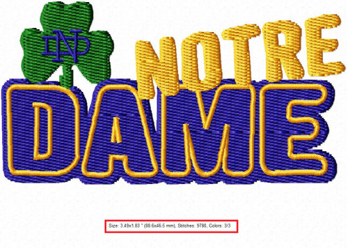 University of Notre Dame Sports Team Embroidery Designs Download