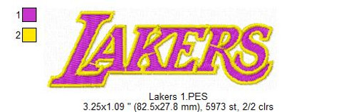 Los Angeles Lakers NBA Basketball Team Sports Embroidery Designs Download